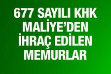 677 sayılı KHK Maliye Bakanlığı'ndan ihraç edilenler liste