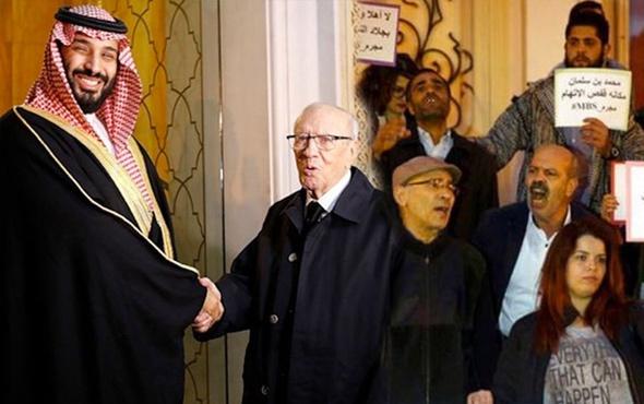 Tunus'ta Bin Selman'a protestolar eşliğinde 'hoş' karşılama