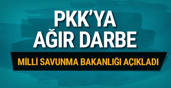Milli Savunma Bakanlığı açıkladı PKK'ya ağır darbe