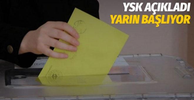 Yüksek Seçim Kurulu açıkladı 21 Mart'tan itibaren başlıyor