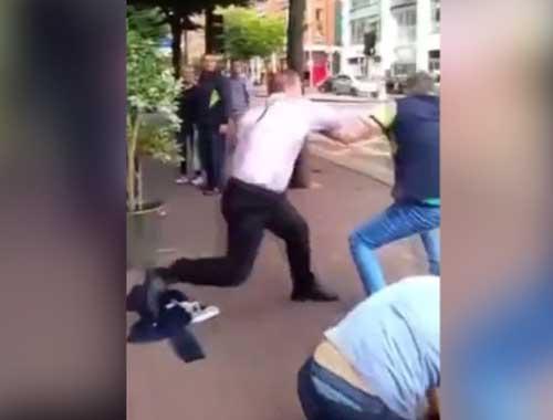 Çılgın İrlandalı 2 kişiyi yere serdi!