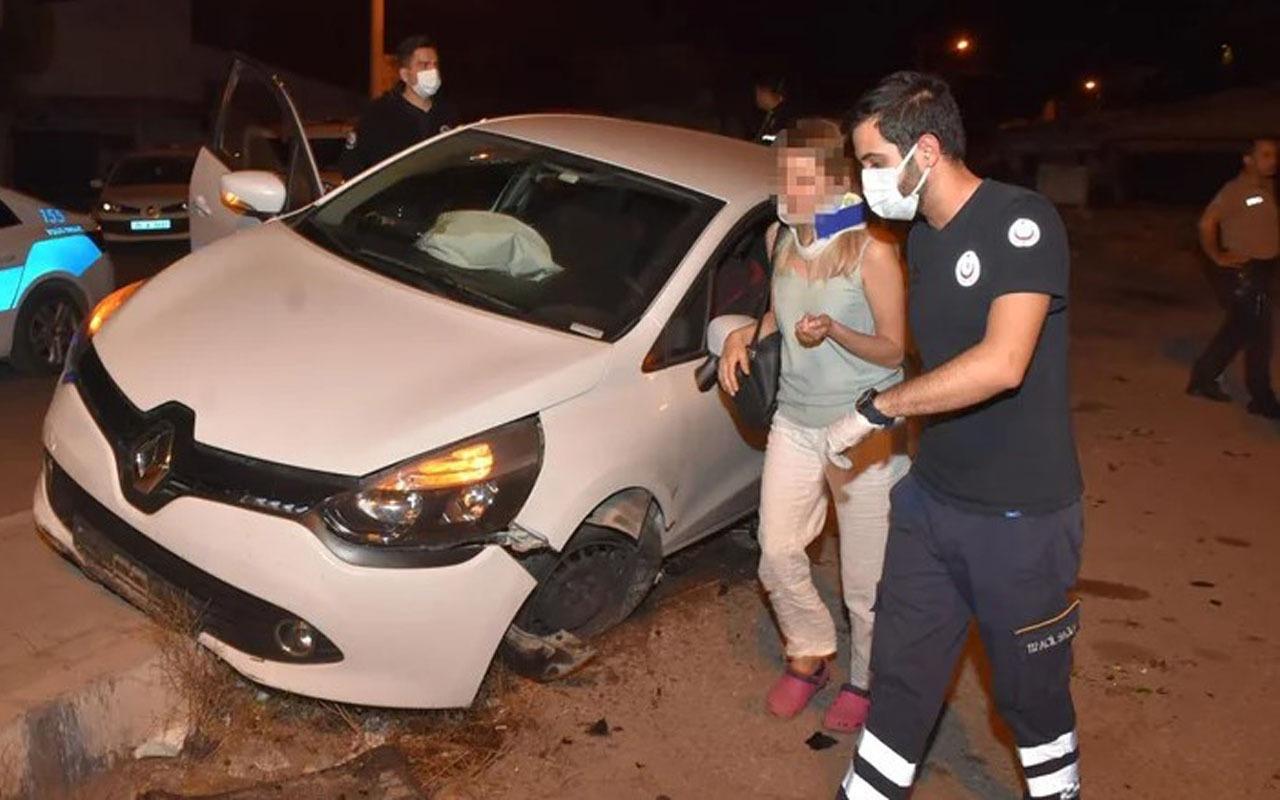 Sarhoş kadın dehşet saçtı! Polisin üstüne araç sürdü kaza yapınca yakalandı