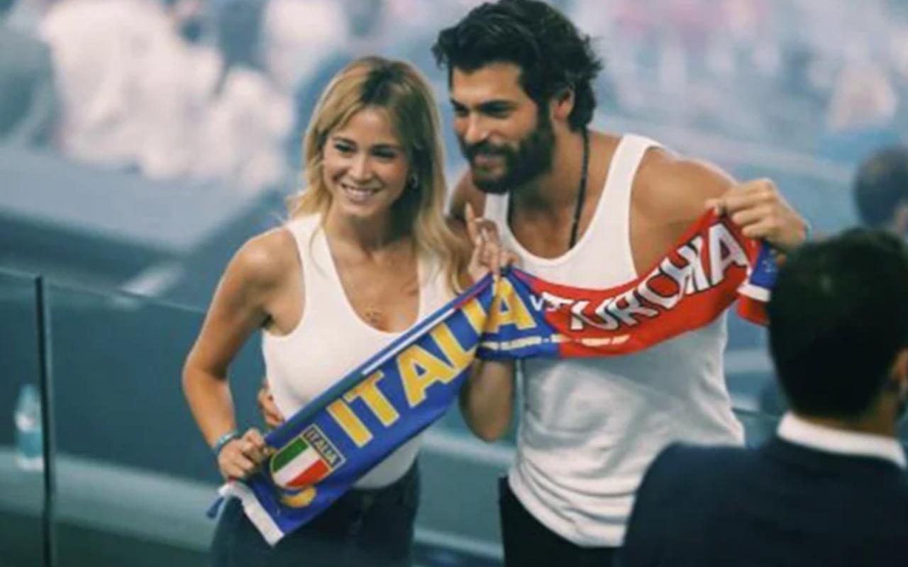 Türkiye-İtalya maçında Can Yaman ve İtalyan sevgilisinden olay fotoğraflar